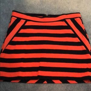 Gap navy and coral striped skirt